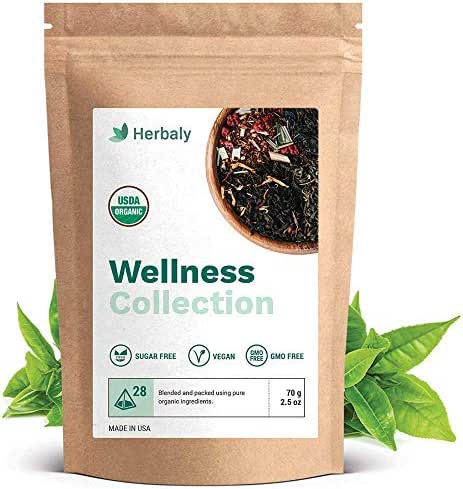 Herbaly Wellness Collection Tea - Support healthy blood sugar levels | Weight management | Anxiety relief | Vegan & Gluten free |…