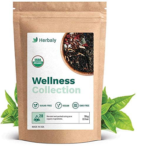 Herbaly Wellness Collection Tea - Support healthy blood sugar levels | Weight management | Anxiety relief | Vegan & Gluten free |