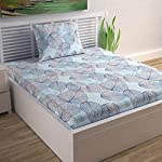 Divine Casa 100% Cotton 144 TC Floral Single Bedsheet Cotton with 1 Pillow Cover – Light Blue