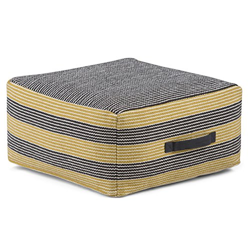 Simpli Home Keller Square Pouf, Patterned Grey and Yellow by Simpli Home