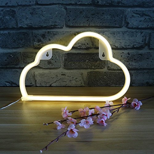 DELICORE Decorative LED Cloud Shaped Neon Night Light With Warm White Lamp-Neon Night Light for Children's room Party Christmas Wedding Decoration