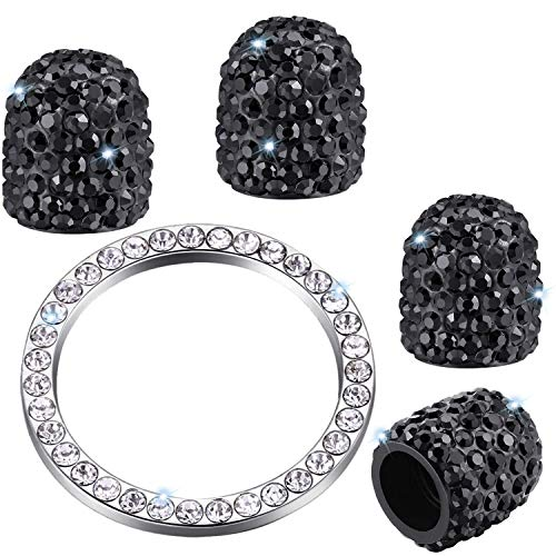 Zhidemai Valve Stem Caps 4 Pack Handmade Crystal Rhinestone Dust Caps Universal Tire Valve Bling Car Accessories with 1 Piece Ring Emblem Sticker for Ignition Engine Auto Start Button Key (Black)