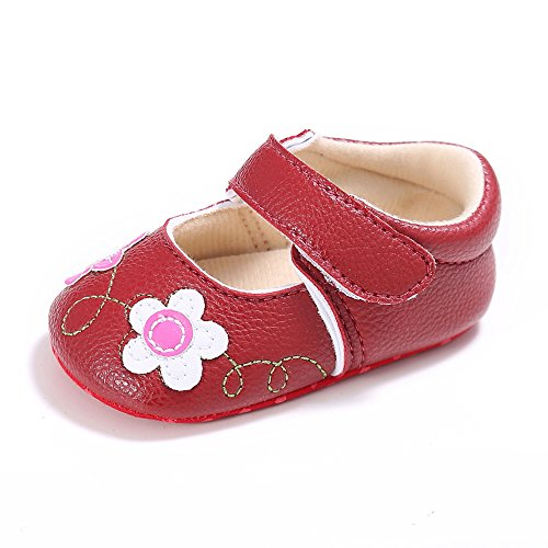 L'enfant Baby Girls Mary Jane Shoes Flowers PU leather Prewalker Red US 3