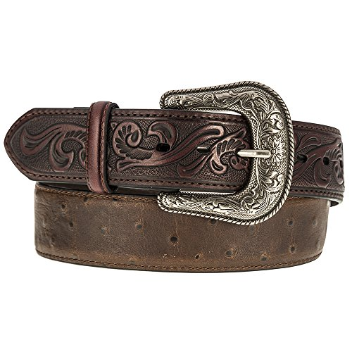 (Roper Mens Ostrich Belt with Tooled Leather Tabs 42 Brown)