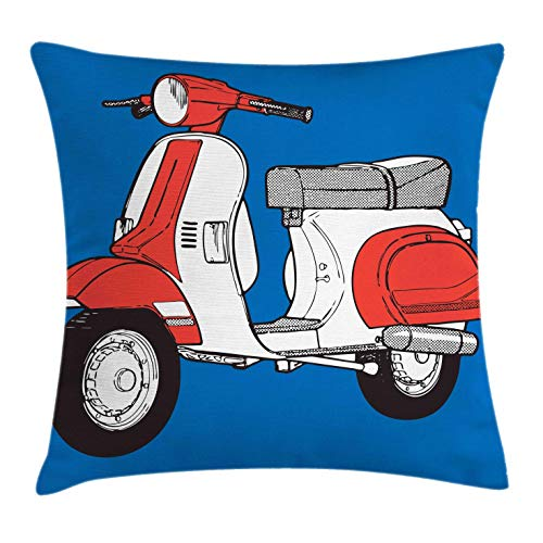 """Ambesonne Funky Throw Pillow Cushion Cover, Scooter Motorcycle Retro Vintage Vespa Soho Wheels Rome Graphic Print, Decorative Square Accent Pillow Case, 20"""" X 20"""", Vermilion White"""