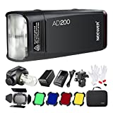 Neewer AD200 200Ws 2.4G TTL Outdoor Flash Strobe 1/8000 HSS Monolight with 2900mAh Lithium Battery,Bare Bulb/Speedlite Flash Head,3-in-1 Cleaning Kit,Barn Door with Honeycomb Grid and 4 Color Filters