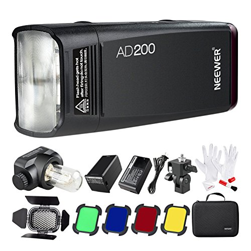 Neewer AD200 200Ws 2.4G TTL Outdoor Flash Strobe 1/8000 HSS Monolight with 2900mAh Lithium Battery,Bare Bulb/Speedlite Flash Head,3-in-1 Cleaning Kit,Barn Door with Honeycomb Grid and 4 Color Filters by Neewer