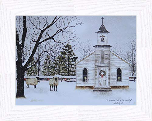 Home Cabin Décor I Heard The Bells On Christmas Day by Billy Jacobs 16x20 Country Church Sheep Lambs Wool Snow Snowing Framed Art Print Picture (2