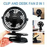 Clip on Fan and Desktop Fan 2 in 1, Battery Operated Fan for Baby Stroller, Home and Car – USB or Battery Powered [4 AA Batteries Required, (not included)]