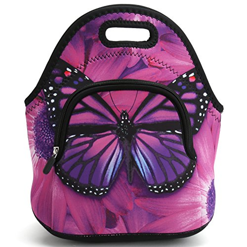 Insulated Neoprene Large Lunch Bag Tote with Extra Pocket -Washable Reusable Thermal Lunch Tote/Lunch Box/Bag Handbag For Women,Men,Kids,Adults For School Work Office (Purple Butterfly)