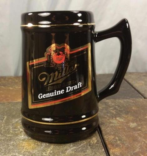 ne Draft Black Ceramic Tankard Mug Stein with Gold Trim (Vintage Miller Genuine Draft)