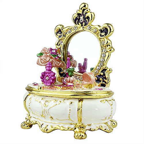 Victorian Dresser White Trinket box with Austrian Crystals Pewter Enameled w/Real Mirror