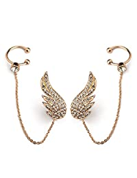 Star Jewelry Pave Setting Cystal Angel Wing Long Earrings For Women Wedding Gold Jewelry