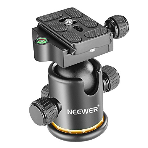 Neewer Pro Metal Tripod Ball Head 360 Degree Rotating Panoramic with 1/4 inch Quick Shoe Plate, Bubble Level for Tripod,Monopod,Slider,DSLR Camera Camcorder up to 17.6 pounds/8 kilograms (Black+Gold)