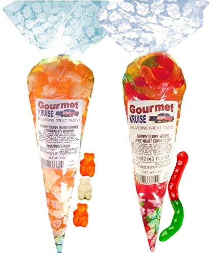 Energy Orange White Strawberry Banana Gummy Gummi Bears And Worms Wild Fruit Assorted (NET WT 22 OZ) Gourmet Kruise Signature Gift Bags