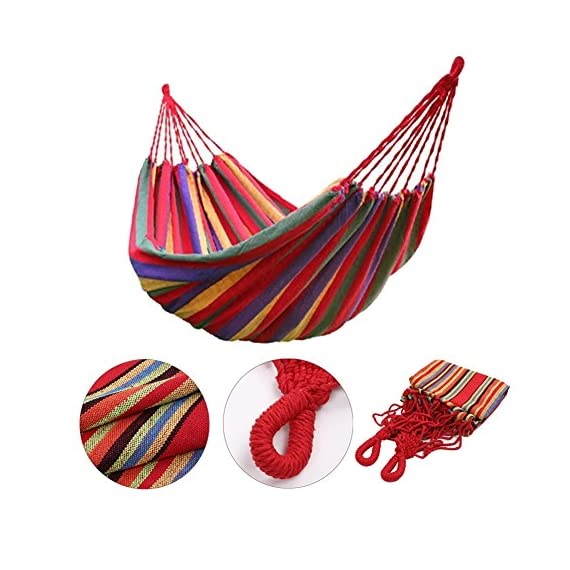 Bartonisen Camping Hammocks Garden Hammock Cotton Fabric Canvas Parachute Hammock for Camping Travel Yard (red) - ➣ ULTIMATE COMFORT HIGH-STRENGTH CAMPING HAMMOCK--- Adopt a special high-density breathable canvas fabric as material,the soft silky tactility with the lightweight appropriate size. ➣ HIGH QUALITY SUPER STRONG GARDEN HAMMOCK--- Comfortably Supporting Up To 264 lbs, the rope joint is specially weaved according to physics rules in order every string stand the same weight and the hammock is strong enough. ➣ EASY FIXING TRAVEL HAMMOCK--- Just fix the hammock with 2 binding strings and tie the strings to trees or poles. Easy to carry and pack with the same color sack. - patio-furniture, patio, hammocks - 51RMZg8tiEL. SS570  -