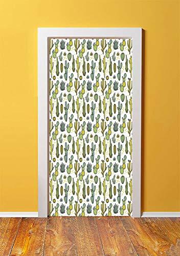 Cactus 3D Door Sticker Wall Decals Mural Wallpaper,Hand Draw Foliage Pattern Botanical -