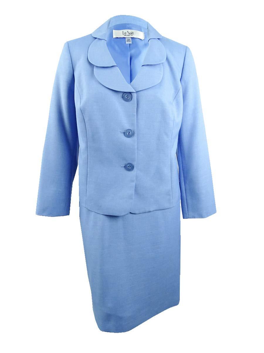 Le Suit Women's Size Plus Glazed Melange 1 BTN Shawl Collar Pant Suit, bel air Blue, 18W by Le Suit