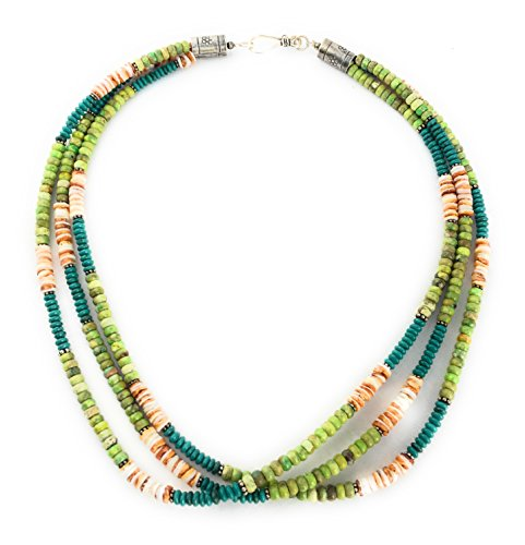 Masha Mother's Day Gift ! Sterling Silver Necklace By Orange Spiny Oyster Shell Blue/Green Turquoise, Made in USA - Exclusive Southwestern Handmade Jewelry, 3 Strand 19