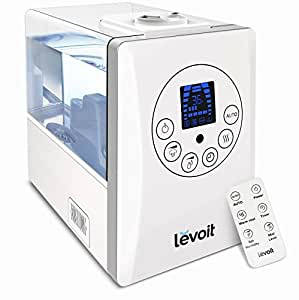 Levoit Humidifiers, 6L Warm and Cool Mist Ultrasonic Humidifier for Bedroom with Remote and Humidity Monitor, Vaporizer for Large Room, Home, Waterless Auto Shut-off
