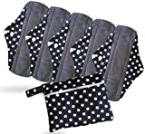 Period Mate 5 Mama Cloths Reusable Sanitary Napkins and Wetbag (Large, Polkadot)