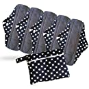 Period Mate Reusable Cloth Menstrual Pads with Bamboo-charcoal Absorbency with Wet Bag (6 Pieces) Polkadots