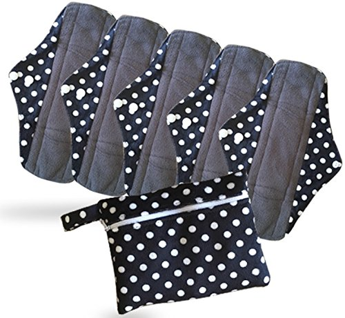 Period Mate Reusable Cloth Menstrual Pads with Bamboo-charcoal Absorbency with Wet Bag (6 Pieces) (Cloth Feminine Pads)