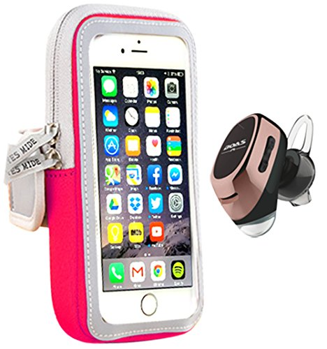 Tech Eazee Small Sports Armband & Earbuds For Running. Neoprene Armband Fits Iphone 6 7 Samsung s5 s6 plus Wireless Bluetooth Earbud v4.1 + EDR (Small Pink Armband with Rose Gold Earbud)