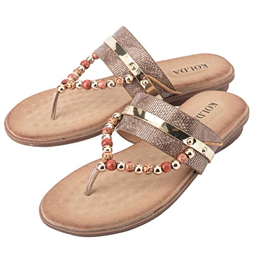 KOLDA Women's Sandals T-Strap Beaded Flat Softbed Memory Foam Comfy Shoes for Womens Ladies Nude]()