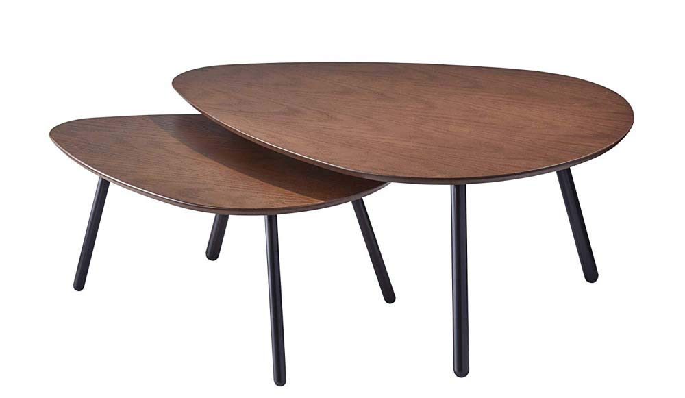 Adesso Hendrix Nesting Tables, Oval, Walnut Oak/Black, Set of 2 Tables by Adesso