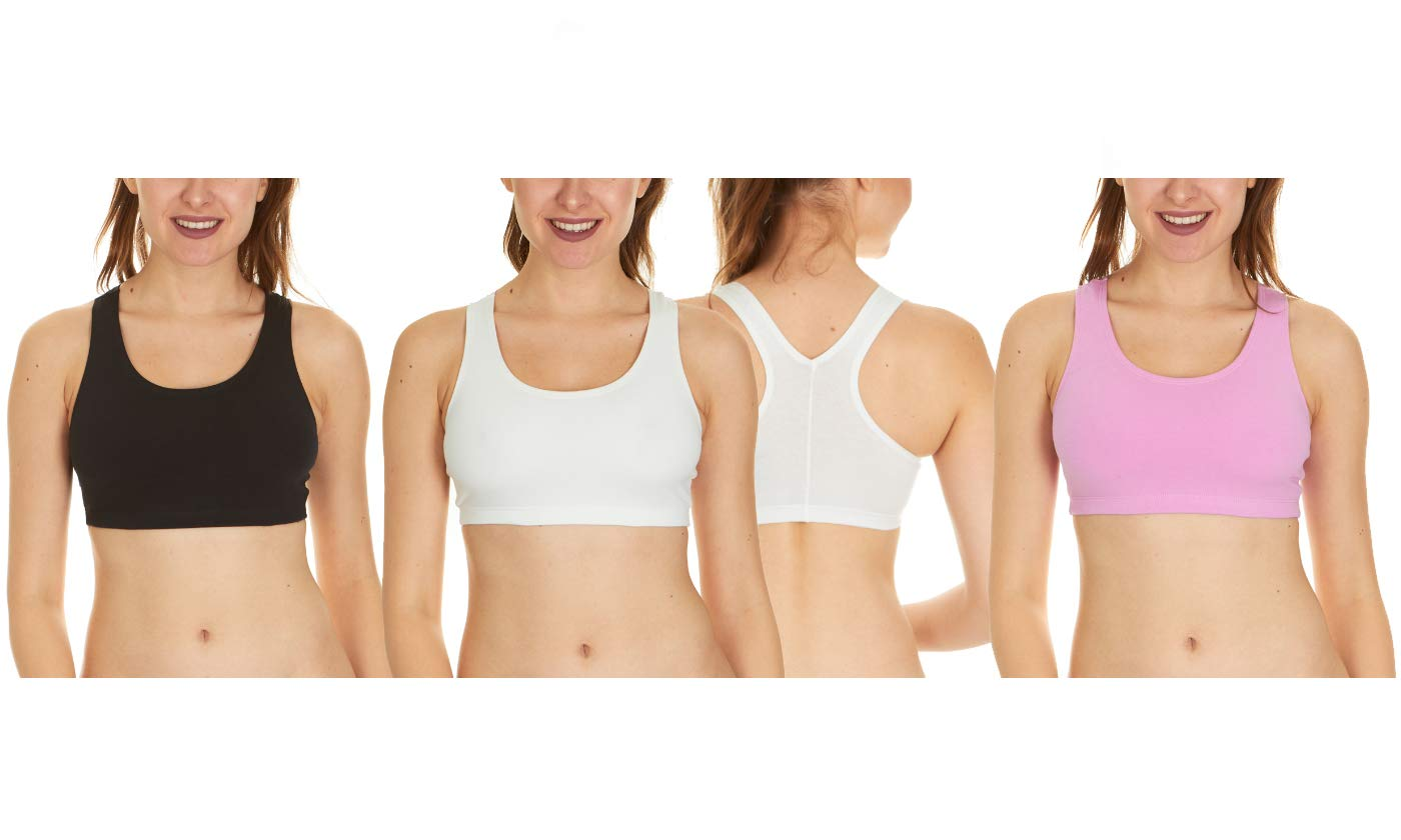 3 Pack of Fruit of The Loom Women's Cotton Sports Bras, Black/White/Light Hot Pink, Small