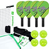 Kanga Pickleball Net, Paddle and Ball Set (Includes Metal Frame + Net + 4 paddles + 4 balls + Rules Sheet in Carry Bag)