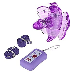 KISSKISSME(US)NEWUU92-03 New Arrival!female Masturbation Wireless Remote Control Strap on Butterfly Vibrating Dildo,butterfly Dildo Vibrator for Woman,adult Sex Toys (Purple)