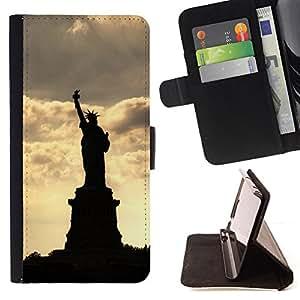 BullDog Case - FOR/Sony Xperia m55w Z3 Compact Mini / - / The Statue Of Liberty /- Monedero de cuero de la PU Llevar cubierta de la caja con el ID Credit Card Slots Flip funda de cuer
