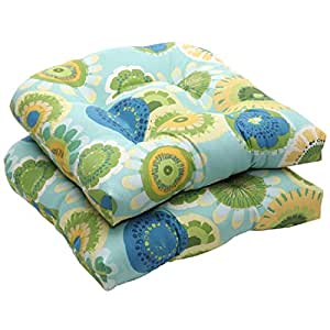 """Pack of 2 Eco-Friendly Blue and Green Floral Outdoor Wicker Seat Cushions 19"""""""
