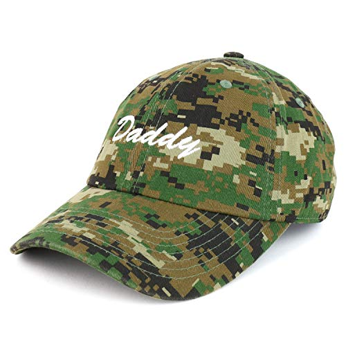 - Trendy Apparel Shop Daddy Script Font Embroidered Low Profile Soft Cotton Baseball Cap - Digital Green CAMO
