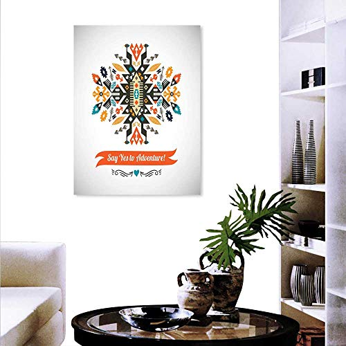 Anyangeight Tribal Fashion Stickers Wall Modern Design Ethnic Details Yes to Adventure Quoted White Backdrop Artwork Stickers Wall Home 16