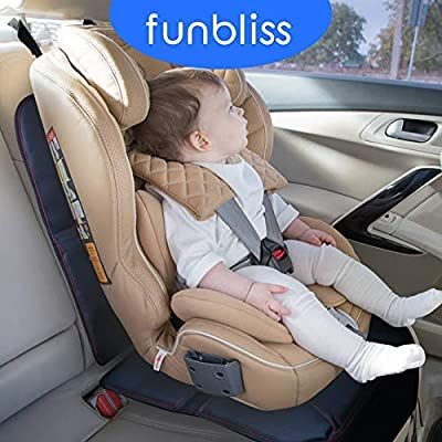 Beige 2 Pack Waterproof 600D Fabric and Dirt Resistant-PVC Leather Reinforced Corner and 2 Mesh Pouch Funbliss Car Seat Protectors ,The Thickest Padding to Protect Leather and Fabric Upholstery