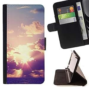King Case - FOR Samsung Galaxy S6 - Beautiful clouds - Prima caja de la PU billetera de cuero con ranuras para tarjetas, efectivo Compartimiento desmontable y correa para la mu?eca