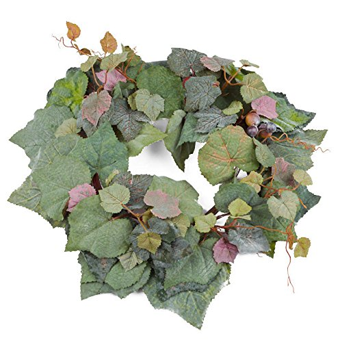 (Factory Direct Craft Artificial Grape Leaf Candlering with Grape Cluster Accents for Home Decor, Gifting and Crafting )