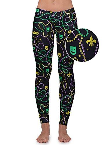 (Tipsy Elves Women's Black Beaded Mardi Gras Leggings Pants)