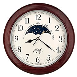14 Inch Exclusive Solid OAK Wood Non-ticking Sweep Mechanical Specialty Moon Phase Moving Dial Wall Clock, Gift, Home Décor (TCWS712-MD-RED OAK)
