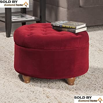 Traditional Classic Round Ottoman Burgundy With Tufted Button Lid Top,  Storage Space, Rich Deep