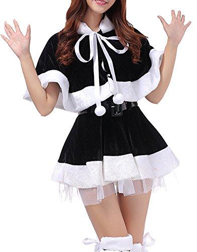 Womens Santa Christmas Cloak Mini Dance Dress Costume Cosplay Black (Harry Potter Themed Costumes)