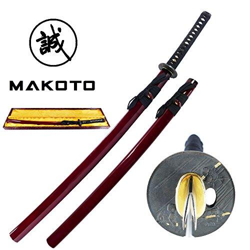 Makoto Handmade Sharp Japanese Katana Samurai Sword 41 Burgundy with Display Stand – Warlord Oda Nobunaga