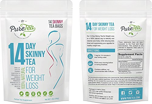 PureTea Skinny Tea, Gentle Diet Detox Tea, Teatox and Appetite Suppressant, Reduce Bloating and Constipation for Weight Loss, 100% Natural Body Cleanse for Women and Men