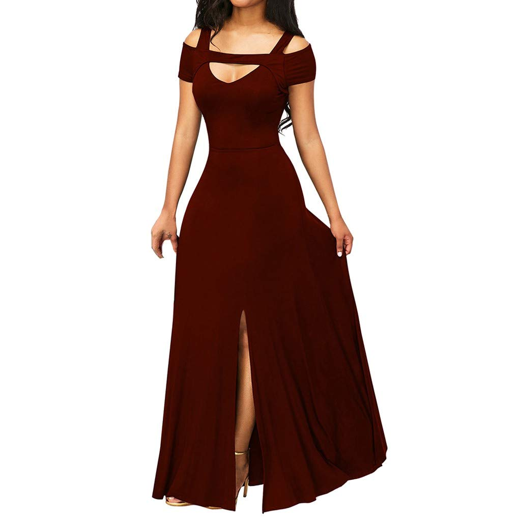 HAALIFE◕‿Women Off Shoulder Party Dress Long Sleeve V-Neck Solid Color Dress Casual Bohemian Loose Long Dress Vestidos Red by HAALIFE Women's Clothing