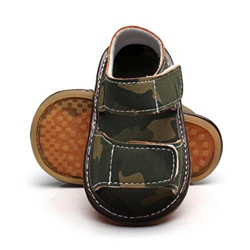 Huhu833 Baby Schuhe, Neugeborenes Baby Unisex Jungen Leder Camouflage Sandalen Sommer Weiche Flache Schuhe Grün