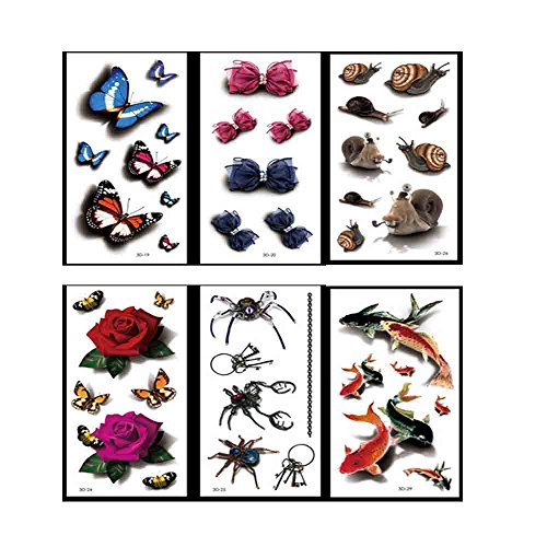 3D Color Butterfly Pattern Temporary Tattoos Stickers - 7