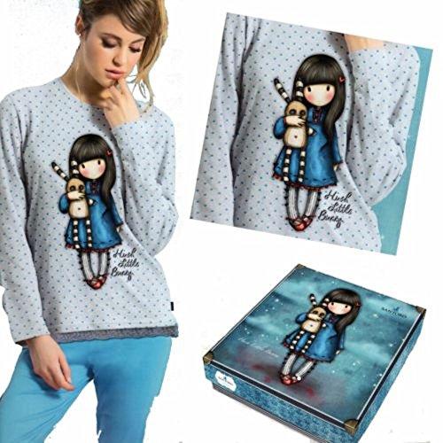 Pigiama Santoro Gorjuss donna/ragazza cotone jersey grigio/azzurro in scatola regalo